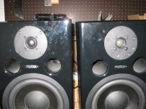 Close up shot showin the new tweeter on the left and the old one on the right.